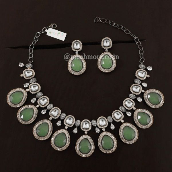 Traditional Polki Stone Beaded Necklace Earring