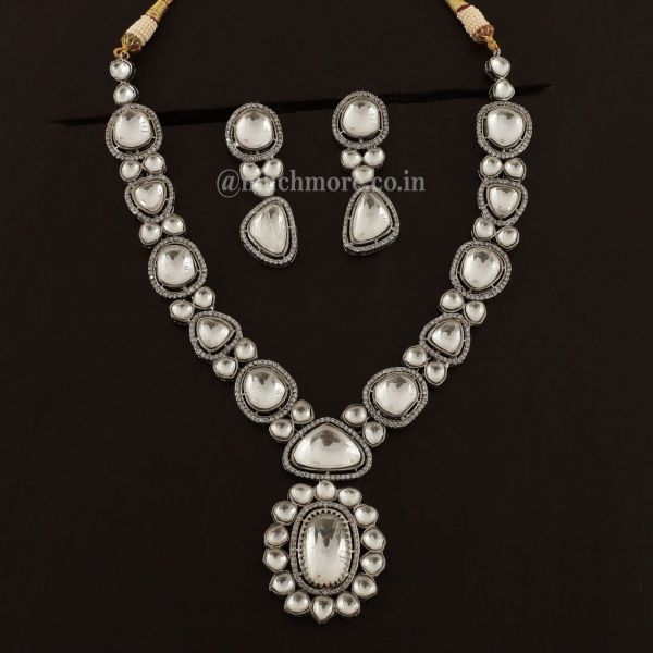 Pendant Style Polki Diamond Necklace With Earrings