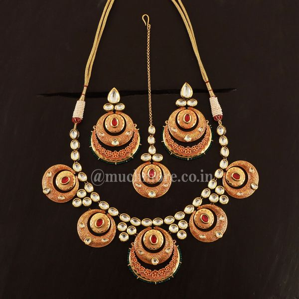 Ruby Green Meenakari Necklace With Earrings