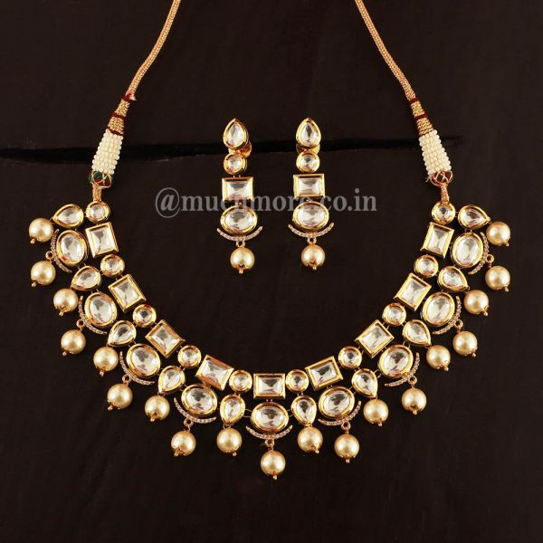 White Kundan Indian Necklace Set