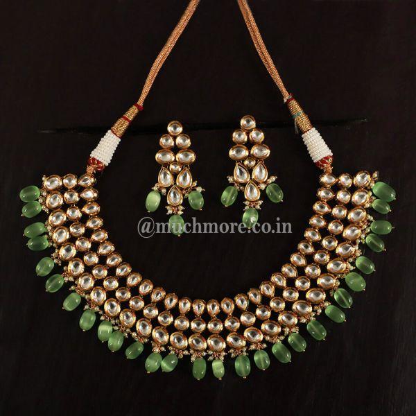 Mint Green Dropping And Three Layer Kundan Set