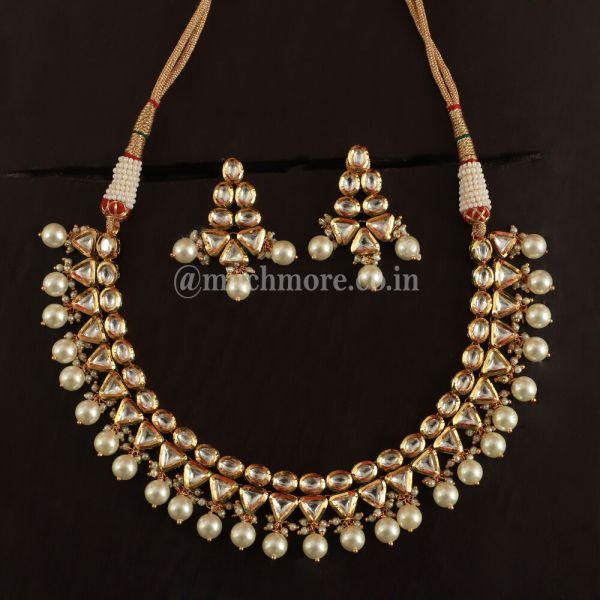 Traditional Designer Indian Pearl Kundan Necklace Set