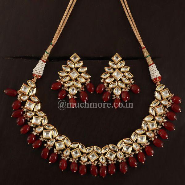 Gold-Toned Traditional Kundan Necklace Set For Wedding