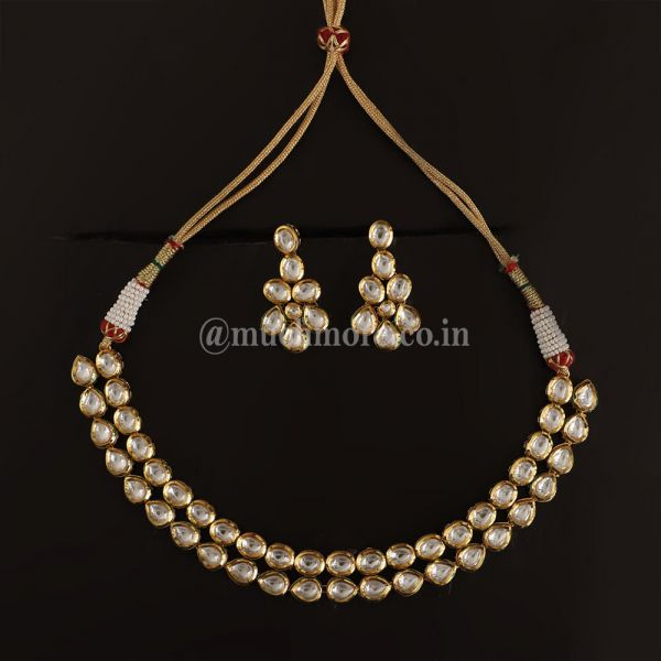 White Kundan Double Layer Necklace With Earrings
