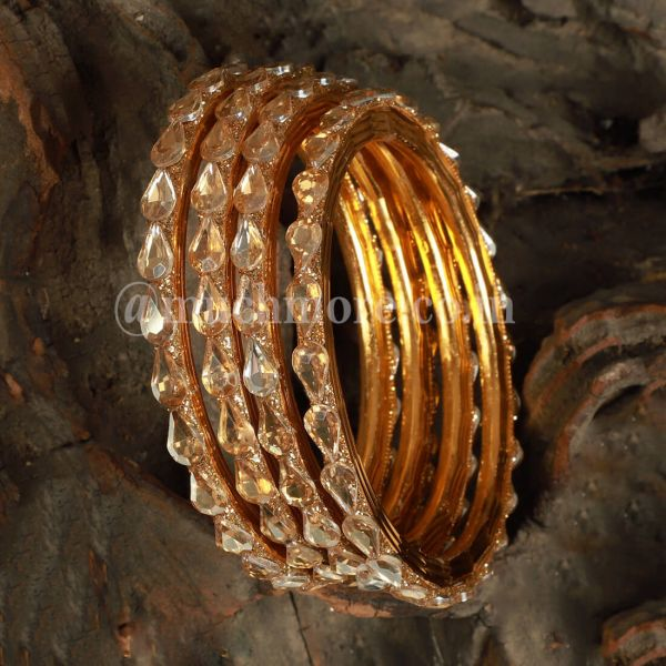 Gold Plated AAA Embellished Two Pair Bangles