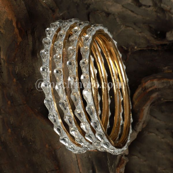 Stone Studded Pair Of Lac Bangle