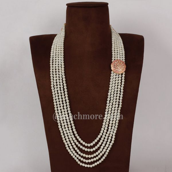 White and Gold Panch lada With Pearls And Kundan Work