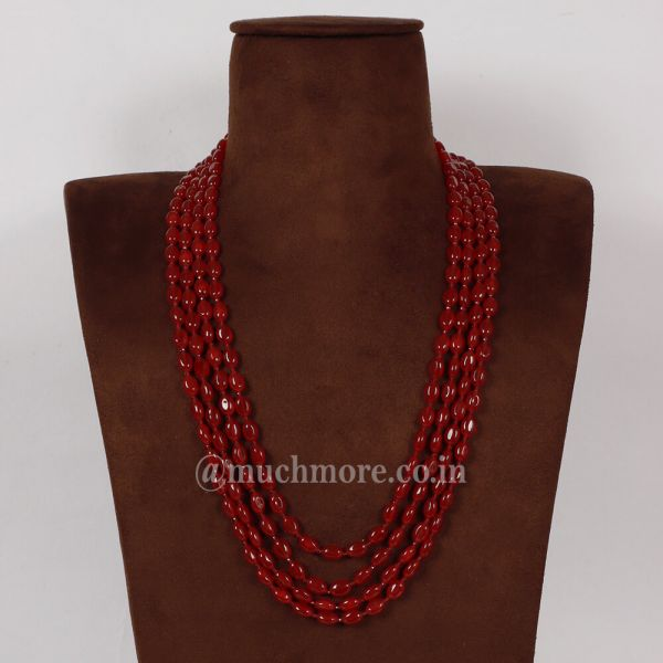 Traditional And Stylish 4 Stringed Ruby Haram Long Mala
