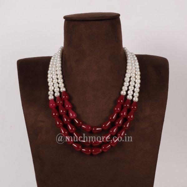 Unique Collection Of Ruby White Sherwani Mala