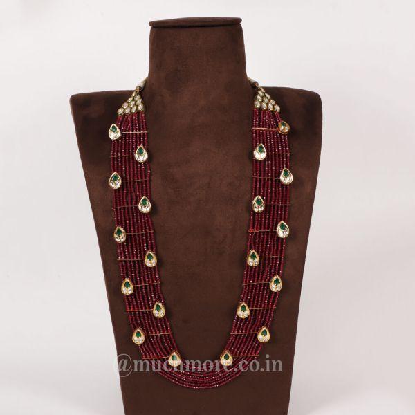 Ruby Gold Tone Kundan Beaded Layered Haram Necklace