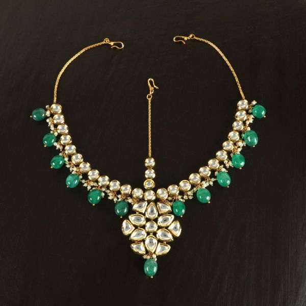 Gold Matha Patti With emerald Dropping
