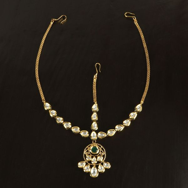 Kundan Gold Matha Patti Green stone