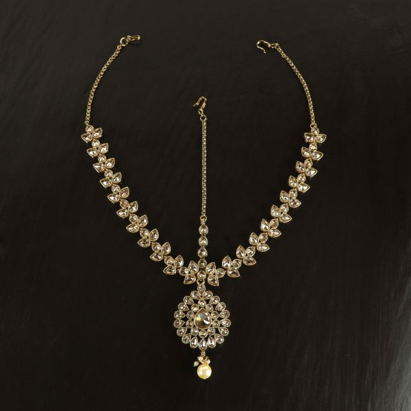 Antique Gold Matha Patti with Pearl Stone