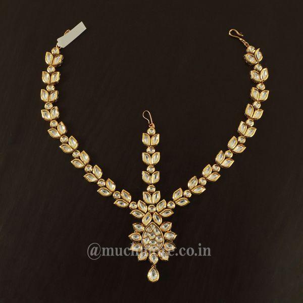 Gold Tone Real Kundan Matha Patti For Bride