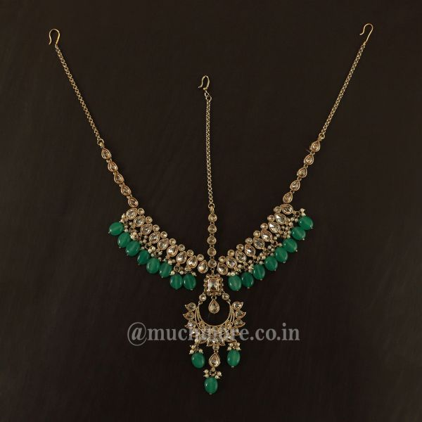 Antique Gold Matha Patti Headpiece With Draping Green