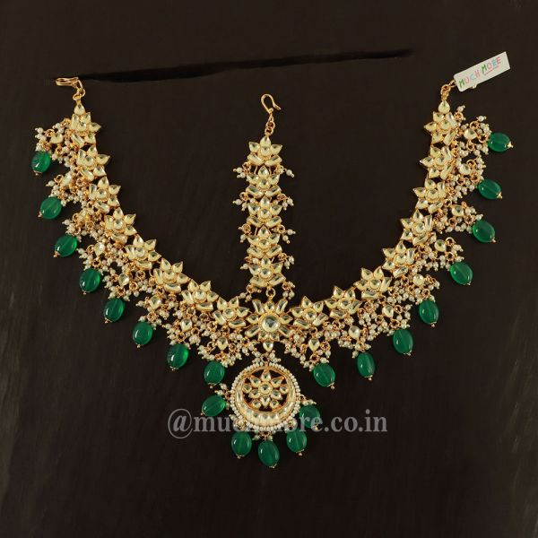 Gold And Green Kundan Matha Patti Indian Wedding Jewelry