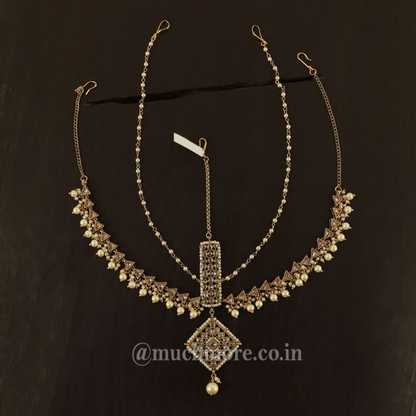 Antique Gold Matha Patti Headpiece With Draping Beads