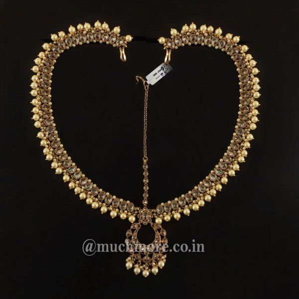 Antique Gold Plated Matha Patti With Pearl For Women