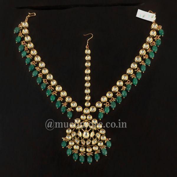 Gold Toned & Green Kundan Bridal Mathapatti