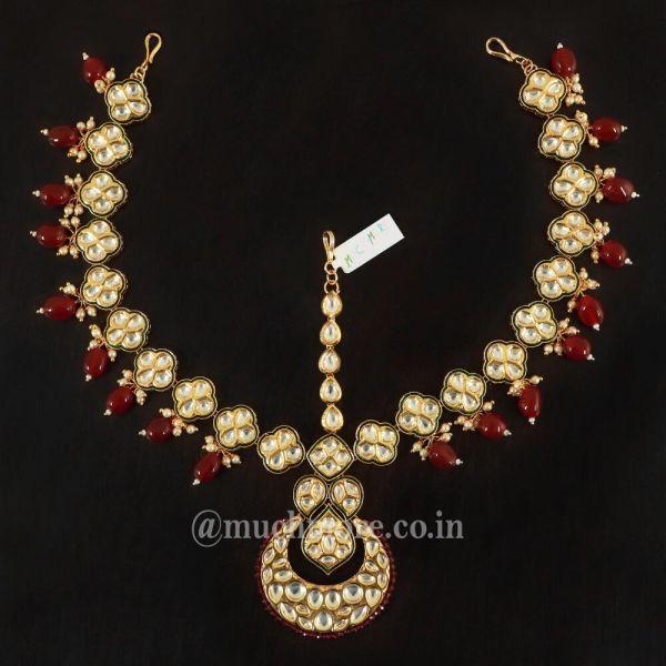 Gold Tone Kundan Matha Patti with Rubies