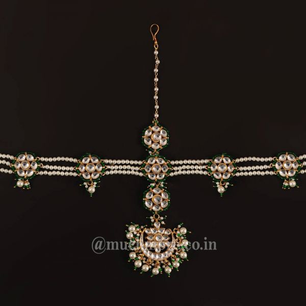 Green White Gold Plated Kundan Maathapatti Headband