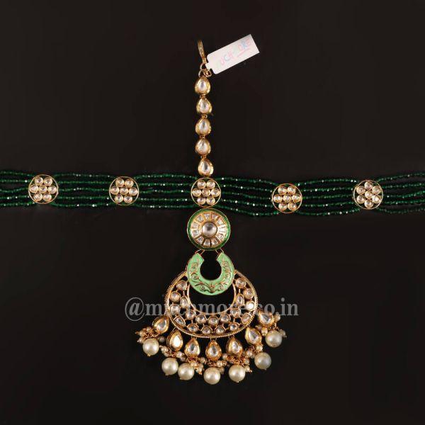 Emerald String Kundan Mathapatti Headgear