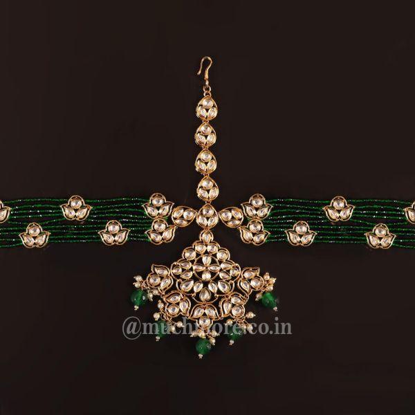 Green Beads White Kundan Big Tikka Sispatti