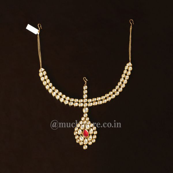 Gold Tone Kundan Handcrafted Maatha Patti In Ruby Color