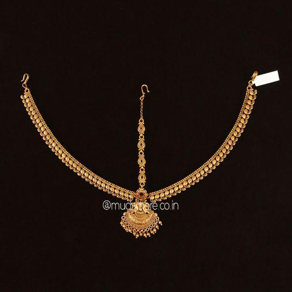 Gold Polish Peacock Head Jewellery Matha Patti