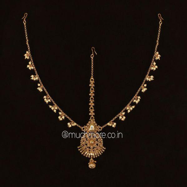 Pearl String Gold Polish Bridal Matha patti