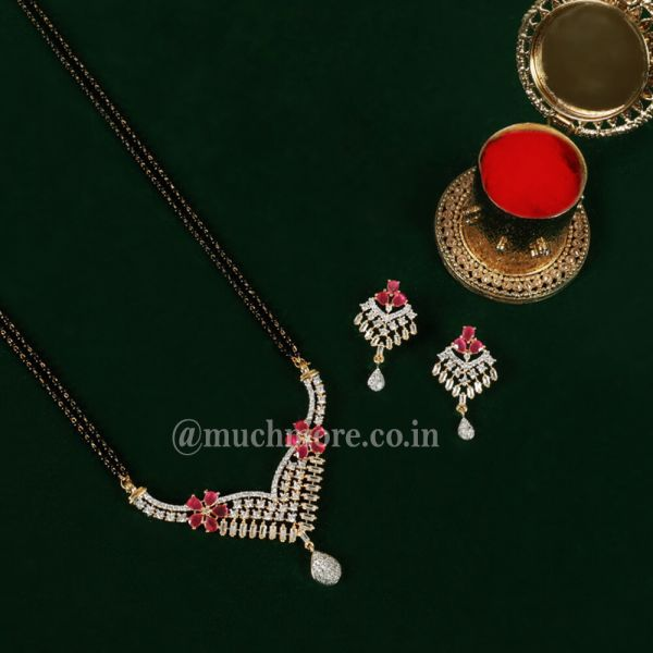 AD Ruby Color Stone Studded Mangalsutra