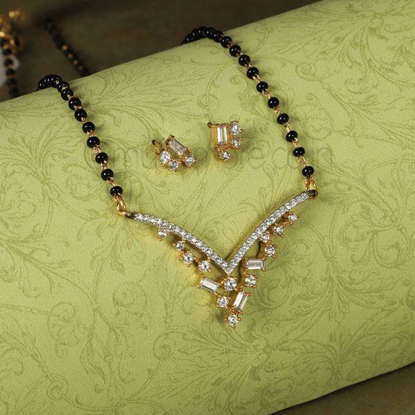 Black Beads lovely Pendant Encrusted Diamond  Mangalsutra