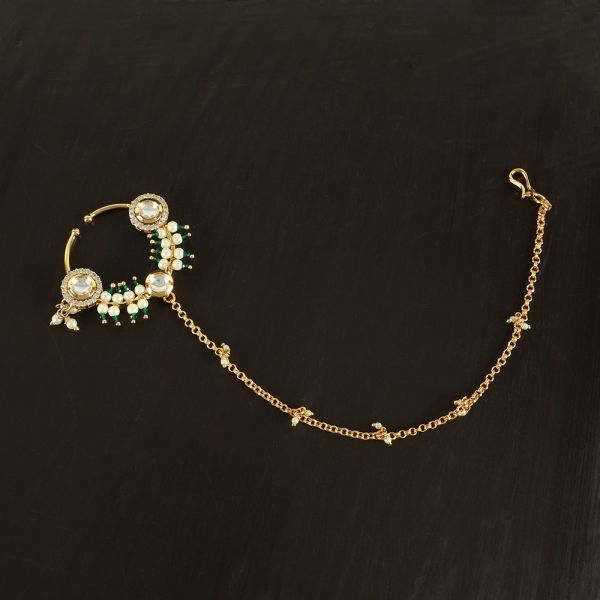 Bridal Kundan Nath with Emerald