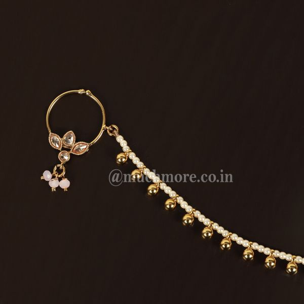 Small Pink Beads Drop Nath For Bride