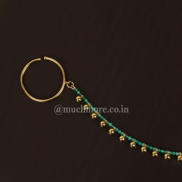 Traditional Indian Gold Round Nose Ring for Indian Wedding