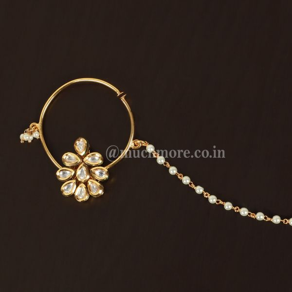 Gold Tone Kundan Nosepin with Pearl For Bride