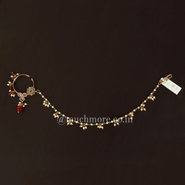 Beautiful Bridal Stylish Nose Ring Nath With Beads Chain Style