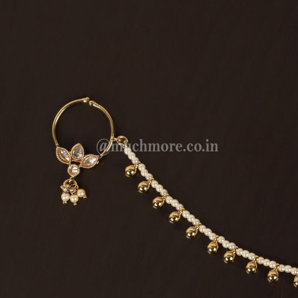Antique Gold Tone Small Round With Drop Bride Nath