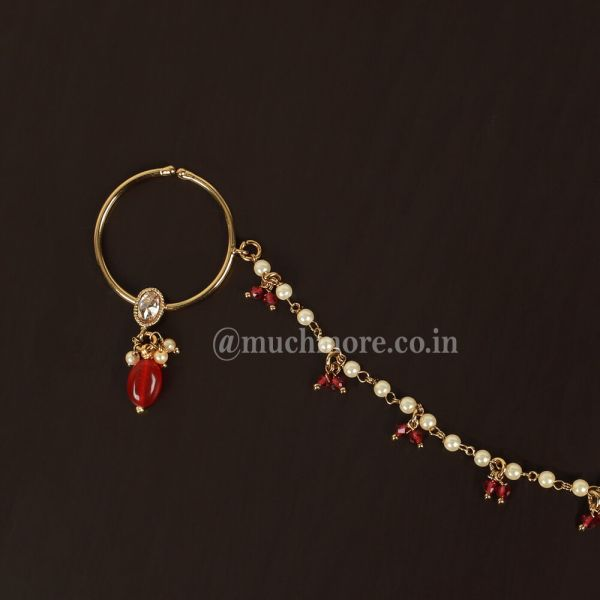 Statement Traditional Nose Ring Nath With Ruby Drop