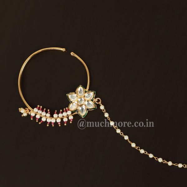 Decorated Indian Wedding Nath Big Traditional Nose Ring