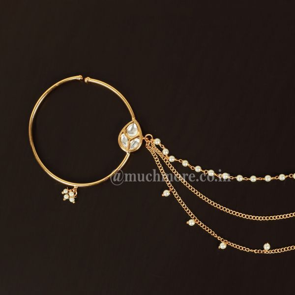 Gold Plated Nose Ring Nose Nath Three Layer Pearl Chain