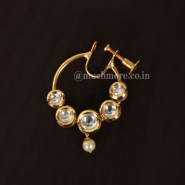 Gold Plated Traditional Ethnic Bridal Nose Ring/Nath Without Chain