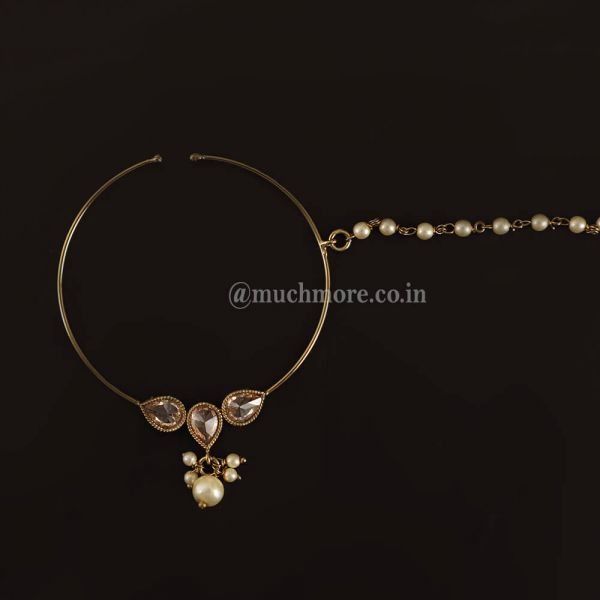 Gold Tone Nath Nose Ring With Pearl Drop