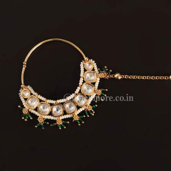 Uncut Kundan Nath With Emerald Beads For Wedding
