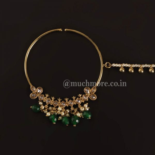 Emerald Green Gold Tone Nosepin Nath With Pearl Chain
