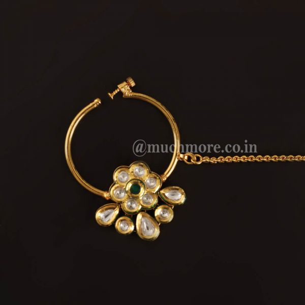 Emerald Green Kundan Flower Nose ring Nath For Bride
