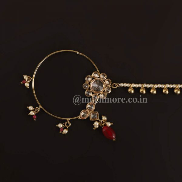 Marroon Ruby Gold Tone Nath With Pearl Chain For Bride