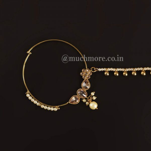 Gold Tone Pearl Drop Antique Handcrafted Nath
