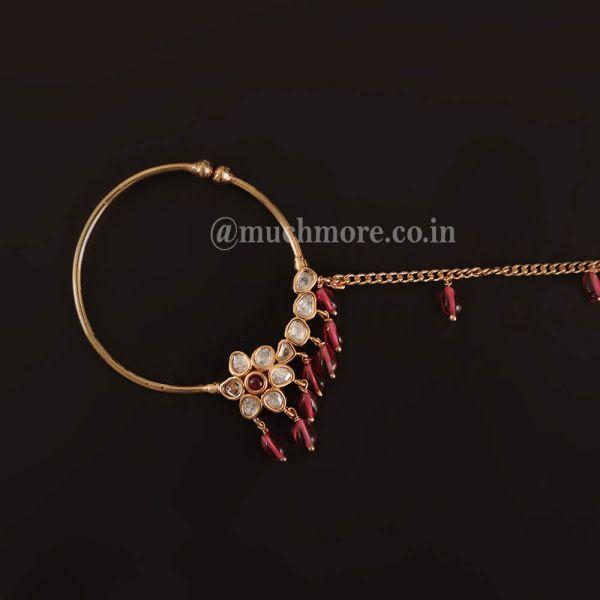 Uncut Ruby Dropping Kundan Nose Ring Bridal Nath