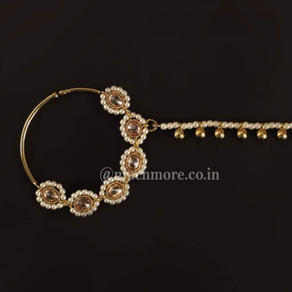 Antique Gold Tone Beaded Nath For Indian Bride